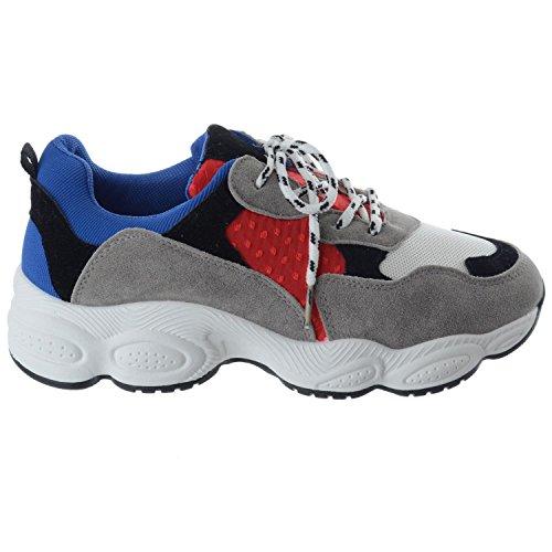 Uk Image Plateforme Chaussures Miss Épais Bleu rouge Lacet Rétro Taille Baskets Femmes Pompes TFdOW5qw