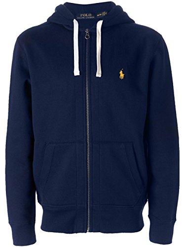 Polo Ralph Lauren Signature Classic Full-Zip Fleece Hooded Sweatshirt (Small, Cruise Navy)