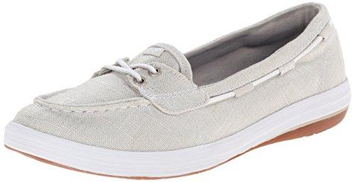Keds Women's Glimmer Slip-On Boat Shoe, Silver, 9 M US