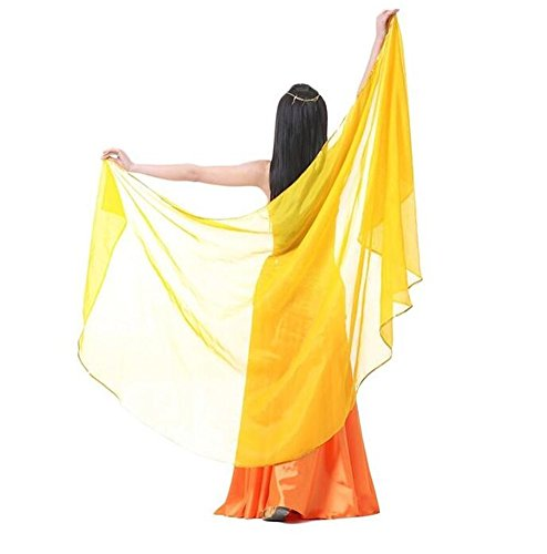 [ZYZF Exotic Belly Dance Egypt Chiffon Solid Color Dance Veils Belly Scarves] (Designer Belly Dance Costumes)