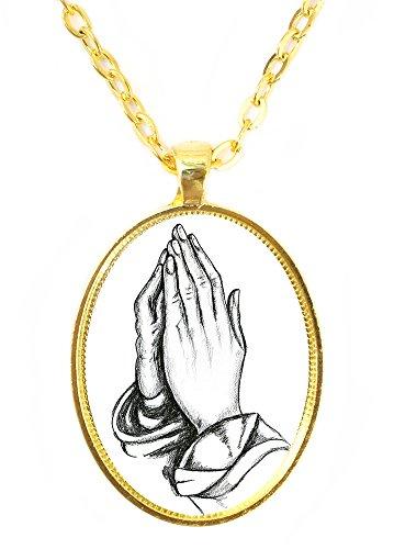- Praying Hands Huge 30x40mm Handmade Gold Pendant