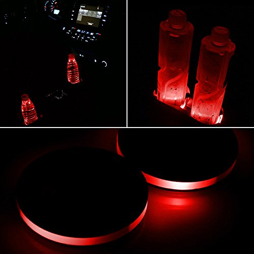 LED Cup Holder Lights, Pack of 2 Solar-Powered LED Light Cover Cup Holder Bottom Pad Cover Light Car Interior Decoration 2.83-Inch Universal Design for Car Cup Holder (Red)
