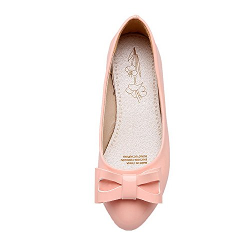 Pull Low On Round Solid Heels Soft Women's Pumps Material Pink Shoes WeenFashion Toe wqfInT5xx