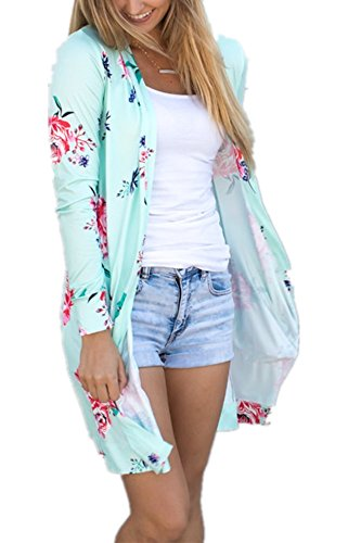 Pxmoda Womens Boho Long Sleeve Floral Print Cardigans Casual Kimono Wrap Coverup Tops Outwear Green ()