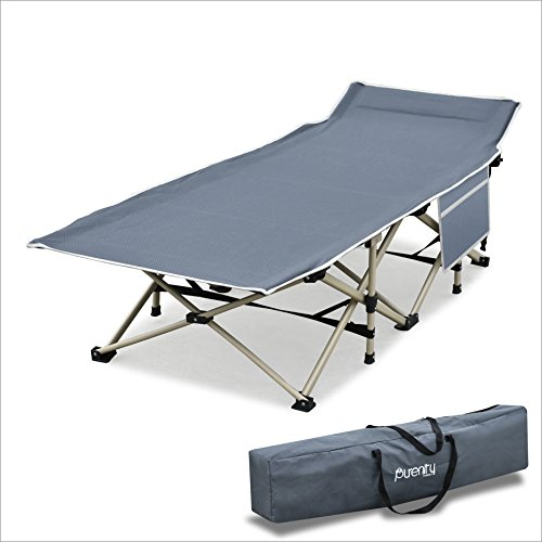 Purenity Stable Camping Cot Portable Folding Beach Bed with Decent Storage Bag (Dark Grey)