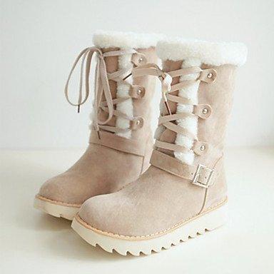 RTRY Zapatos De Mujer Cuero De Nubuck Otoño Invierno Confort Novedad Botas De Nieve Botas De Moda Botas De Tacón Plano Señaló Toe Botas Mid-Calf Lace-Up Para Almendros Us9 / Ue40 / Uk7 / Cn41 US4-4.5 / EU34 / UK2-2.5 / CN33