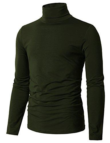 H2H Men's Silk, Cotton, Cashmere Turtleneck Sweater DARKOLIVEGREEN US 2XL/Asia 3XL (CMTTL098) ()