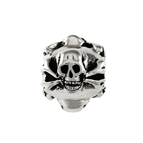 Pirate, Skull and Bones Charm Bead - Solid 925 Sterling Silver - Fits Bracelets like Pandora
