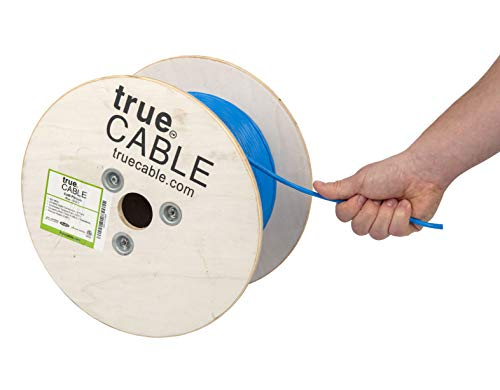 (Cat6 Plenum (CMP), 500ft, Blue, 23AWG 4 Pair Solid Bare Copper, 550MHz, ETL Listed, Unshielded Twisted Pair (UTP), Bulk Ethernet Cable, trueCABLE)