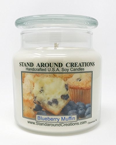 Stand Around Creations Premium 100% Soy Apothecary Candle - 16oz - Blueberry Muffins: The aroma of freshly baked blueberry muffins. by Stand Around Creations