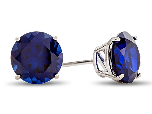 Finejewelers 10k White Gold 7mm Round Created Sapphire Post-With-Friction-Back Stud Earrings 10k White Gold Created Sapphire