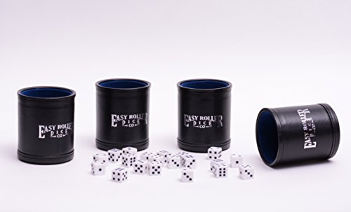 4 Pack of Leatherette Dice Cups by Easy Roller Dice Company – 5 Free Dice Included with Each Dice Cup – Flat Black Exterior with Blue Interior (Cup Flat Only Black)