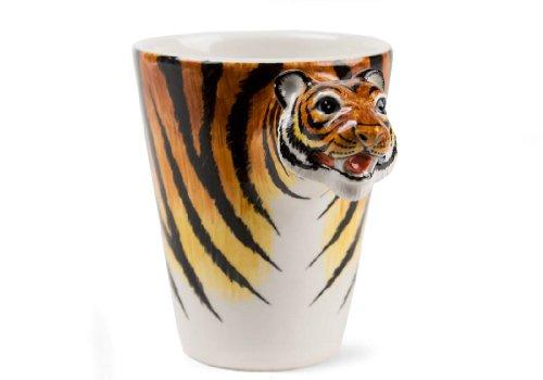Tiger 8oz Brown And Black Handmade Coffee Mug (10cm x 8cm)