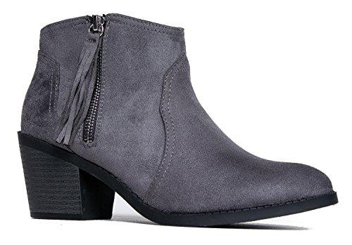 Soda Fringe Western Bootie Simple Leather Walking Up Imsu Shoe Charcoal Cute Casual Heel Ankle Zip Low Boot Tassel IwprqnI