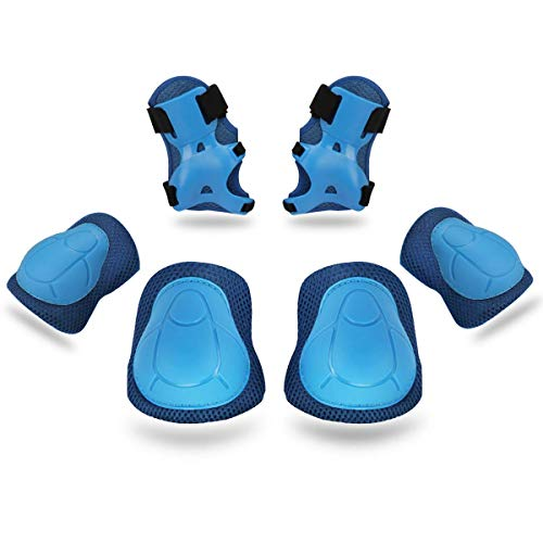 Kids/Youth Knee Pad Elbow Pads Guards Protective Gear Set for Rollerblade Roller Skates Cycling BMX Bike Skateboard Inline Skatings Scooter Riding Sports (Blue) - Bmx Set Pad