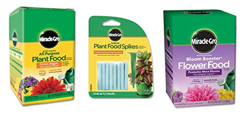 Miracle-Gro Plant Food 8 oz, Bloom Booster 1.5 lb & Plant Food Spikes 1.1 oz (Bundle of 3) 1.5 Lb Bloom Booster