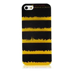 WQQ Black and Yellow Line Pattern Silicone Soft Case for iPhone5/5S