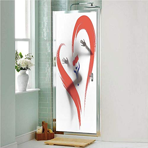 Love Decor 3D No Glue Static Decorative Privacy Window Films, Brush Drawing of a Heart Symbol Mutual Special Emotions Positive Humanly Desire Graphic,17.7