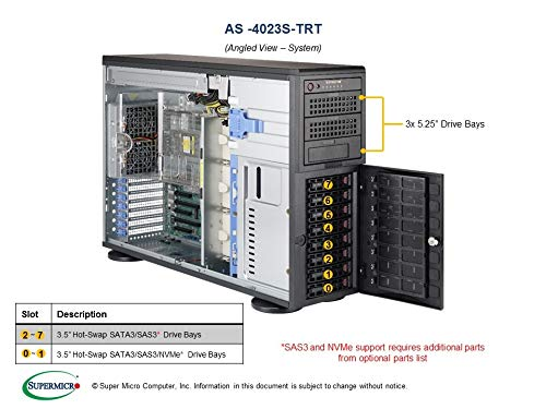 - Supermicro As-4023S-Trt Tower/ 4U Server - Supports Dual EPYC 7000-Series Processors