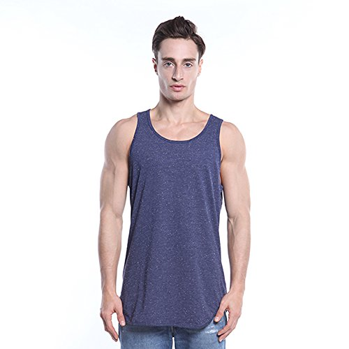 YANWENFANG Mens Tank Tops Hip Hop Long Length Curved Hem Solid Color Gym Jersey Tank Top Blue Smaill