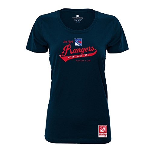 Levelwear LEY9R NHL New York Rangers Ladies Capital Script Short Sleeve Tee, Medium, Solid Navy