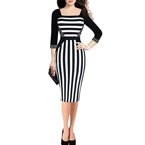345ec5a8929a40 wysoka jakość Bestfort Damen 3/4 Arm Elegant Kleid Etuikleid Platz Kragen  Business Stretch Partykleid
