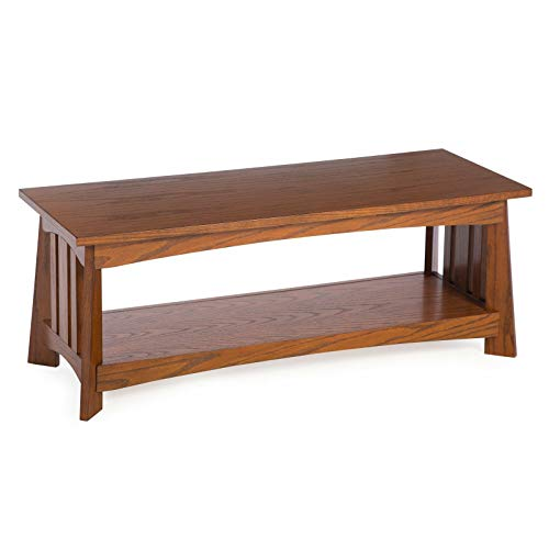 (Traditional Oak Wood Bench Classic Mission Style Entryway Seat with Shelf)