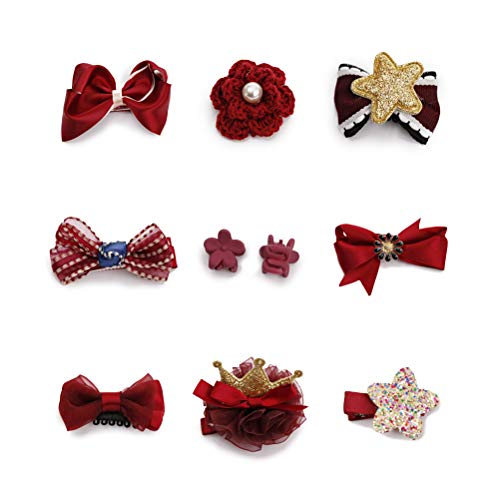 - HaloVa Hair Accessories, Baby Girls Hair Clips Set, Hair Bows Barrettes Hairpins for Toddler Infant Children Kids Little Princess, Red