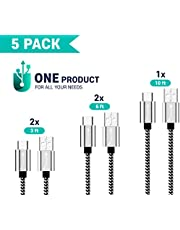 5 PACK (3/3/6/6/10FT) Premium Type C USB C Cable, ShereshTech Phone Charger Nylon USB-C to USB-A Braided Fast Charging Cord Aluminum Housing Compatible with Samsung Galaxy S10 S10E S9 S8 S20 Plus, Note 10 9 8 Z Flip LG v20 - Black and White