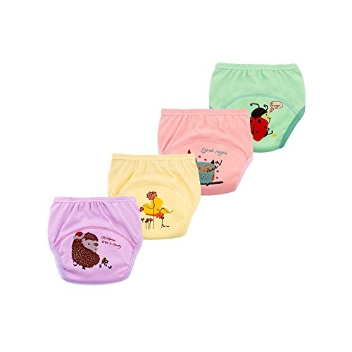 emlstyle Toddler 6 Layers Anti Leakage Toilet Potty Training Pants Baby Potty Training Underwear Reusable Set of 4 Pieces(100,Girls)