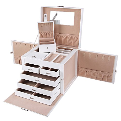 Songmics XXL Schmuckkästchen abschließbar mit spiegel Schublade und Mini-Box 5 Schichten mit 5 Schubladen Weiss JBC05W
