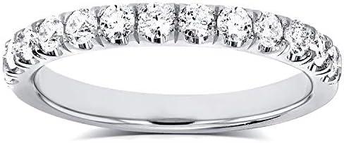 Kobelli Flame French Pave Lab Grown Diamond Comfort Fit Womens Wedding Band 1/2 CTW Platinum (DEF/VS)