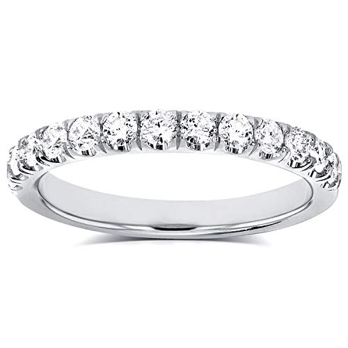 Flame French Pave Lab Grown Diamond Comfort Fit Womens Wedding Band 1/2 CTW 14k White Gold (DEF/VS), 6 ()