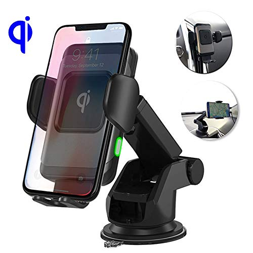 SmartG Wireless Car Charger Mount, Auto-Clamping, Fast Charging, 10W/7.5W/5W Air Vent/Windshield/Dashboard Holder, for iPhone MAX/XS/XR/X/8/8+ & Samsung ()