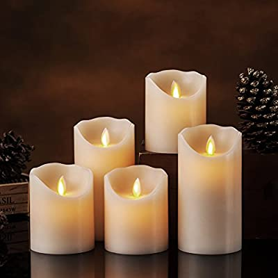 Flameless Candles LED Candles Realistic Moving Set of 5 Ivory Battery Candles Real Wax Pillar with 10-key Remote Control Timer- 2/4/6/8 Hours: Home Improvement
