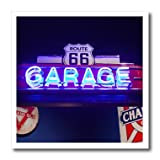 USA, Oklahoma, Clinton, route 66 museum, neon garage sign iron on heat transfer is a great way to jazz up a plain T-shirt, pillow case or any other light color fabric. The transfer is transparent and should be applied only to white or light colored m...