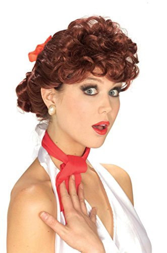 Forum Novelties Women's 50's Housewife Wig, Auburn, One (Rockabilly Wig In Red)