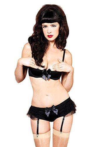 Leg Avenue Mesh Bikini (Leg Avenue Women's 2-Pack Padded Underwire Spandex Shelf Bra and Garter Panty, Black, Medium)