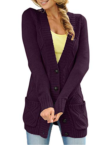 - Sidefeel Women Open Front Cardigan Sweater Button Down Knit Sweater Coat X-Large Purple