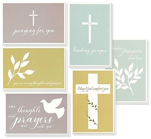 Sympathy Cards - 48-Pack Sympathy Cards Bulk, Greeting Cards Sympathy, Religious Cross Themed Designs, Envelopes Included, Assorted Sympathy Cards, 4 x 6 Inches