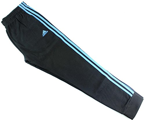 adidas Youth Fleece Collection (Youth Xlarge 18/20, Tapered Hem Sweatpants, Black/Blue)
