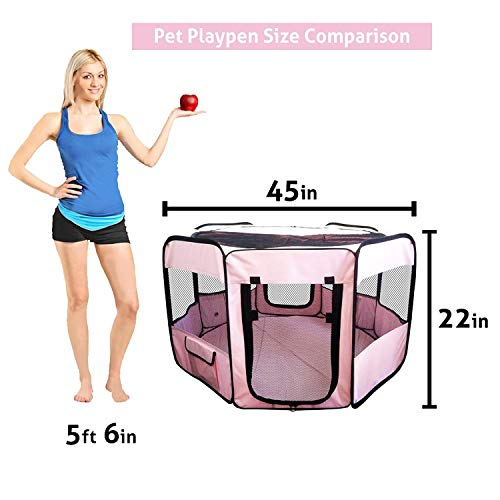"ToysOpoly #1 Premium Pet Playpen – Large 45"" Indoor/Outdoor Cage. Best Exercise Kennel for Your Dog, Cat, Rabbit, Puppy, Hamster or Guinea Pig. Portable Fabric Pen for Easy Travel (Light Pink) by ToysOpoly (Image #3)"
