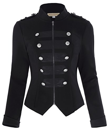 Womens Black Gothic Steampunk Ringmaster Jacket Military Coat KK464-1 Black Size XL]()