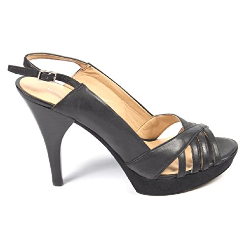 Nine West Womens Talón Abierto Sandalia Nwstunner Black