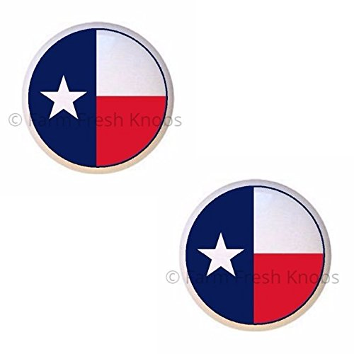 SET OF 2 KNOBS - Texas Flag in the Round - Texas - DECORATIVE Glossy CERAMIC Cupboard Cabinet PULLS Dresser Drawer - Outlet Texas In