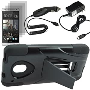 Cerhinu BW Armor Video Stand Protector Hard Shield Snap On Case for AT&T HTC One Mini x3 Fitted Screen Protector + Car...