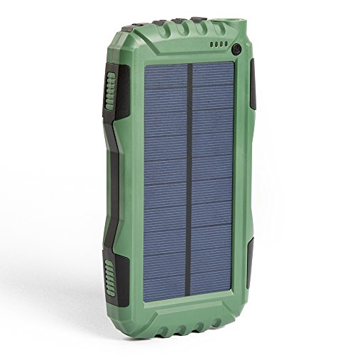 Elzle 25000mAh Portable Solar Power Bank Dual USB Output Battery Bank with Strong LED light, Outdoor Solar Charger Phone External Battery Shockproof/Dustproof for iPhone Series,Smart Phone,More
