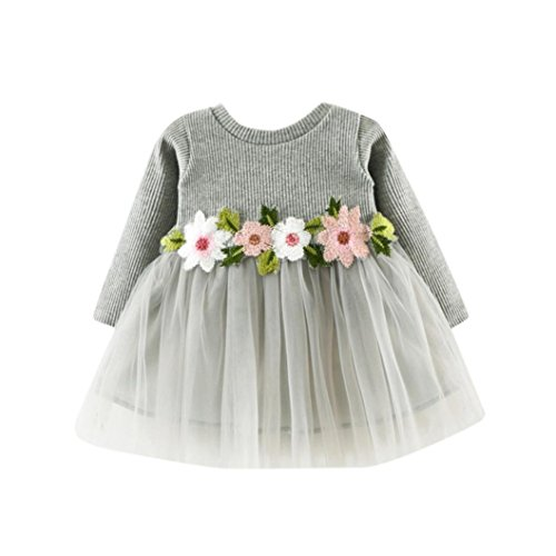 Kehen Baby Girl Embroidery Flowers Tulle Knitted Long Sleeve Tutu Dress (12/18M, Grey)