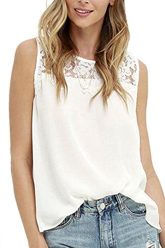 Sin mangas de encaje mosaico túnica camisas camisetas de moda T de las mujeres White