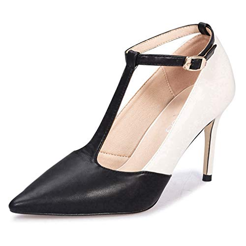 Pumps Suede Vintage (CYBLING Women Pointed Toe High Heel T-Strap Pumps Adorable Vintage Stiletto Evening Dress Shoes)